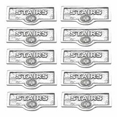 10 Switchplate Chrome Over Brass STAIRS Switch Tag Chrome 1 11/16 in. W