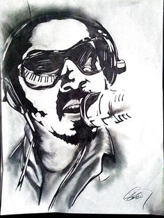 """""""Young Stevie"""" 2011 Charcoal/ Pencil on Paper, 18 x 24, Musician Series"""