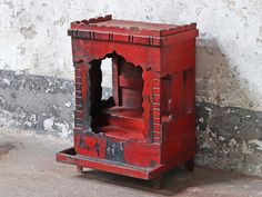 A fancy bright red temple display cabinet. It features stunning ornate edging and columns making this cabinet a piece of art and a storage cabinet. Vintage Bedroom Furniture, Bedroom Vintage, Painted Furniture, Vintage Valentines, Valentine Gifts, Upcycled Vintage, Repurposed, Vintage Display, House Painting