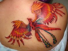 Applying Pretty Shoulder Tattoos for Women: Phoenix Women Shoulder Tattoo Design ~ tattooeve.com Tattoo Ideas Inspiration