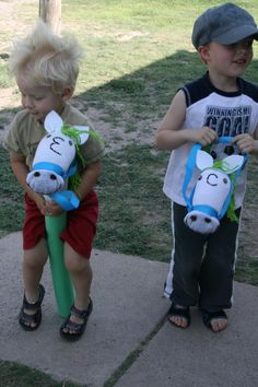 DIY Stick horses made with socks. Check out the how to at…