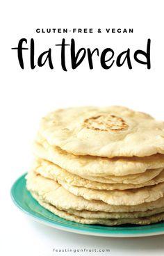Vegan Gluten-Free Flatbread (made from yukon gold potatoes) Veganes glutenfreies Fladenbrot (hergestellt aus Yukon Gold Kartoffeln) Naan, Dairy Free Recipes, Vegan Recipes, Cooking Recipes, Vegan Snacks, Vegan Food, Mac And Cheese Rezept, Gluten Free Flatbread, Gluten Free Pita Bread