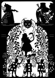 This is a 7.5 x 11 paper cutting in celebration of the 150th anniversary of the publication of Alices Adventures in Wonderland. The design is by