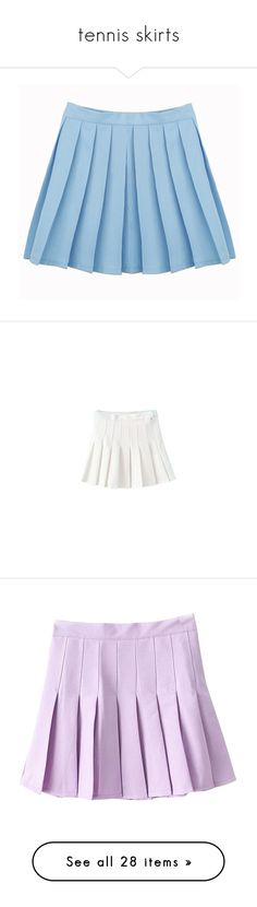 """tennis skirts"" by siennahaw ❤ liked on Polyvore featuring skirts, bottoms, clothing - skirts, blue, light blue skirt, blue skirt, white skirt, purple, filler and pink"