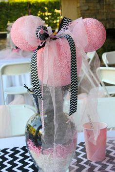 Minnie Mouse Table Centerpiece from this Minnie Mouse themed birthday party with Lots of Really Cute Ideas via Kara's Party Ideas | KarasPartyIdeas.com #minniemouseparty #minniemous...
