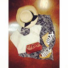 Sunhat: $14 Shirt: size small, $9 Sandals: Size 7, $18 Wallet: $8 Maxi Skirt: Size medium, $11