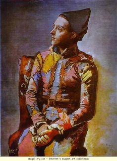 Picasso, Pablo - The Seated Harlequin - Cubism - Oil on canvas - Genre - Kunstmuseum Basel - Basel, Switzerland Kunst Picasso, Art Picasso, Picasso Paintings, Clown Paintings, Rose Paintings, Paintings Famous, Clowns, Picasso Rose Period, Pierrot Clown