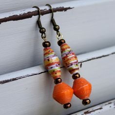 Paper Bead Earrings                 ~Twirling Trees Paper Bead Creations~  Benefits orphan care ministries