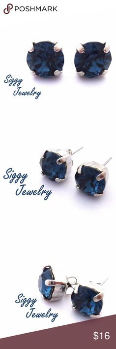 Blue Crystal Studs Made With Swarovski Crystals These are a gorgeous pair of deep blue earrings. The crystals are genuine Swarovski Montana in an 8mm size. The settings are nickel free antique silver studs. Along with the metal backing, they will also include comfort wear silicon closures. Gift packaging is included. Siggy Jewelry has sold thousands of pieces since 2012. The five star glowing reviews submitted by happy customers speak for themselves. I look forward to working with you…