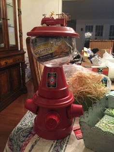 Fire hydrant candy/snack dish made out of terra cotta pots! Great gift for any admin staff or fire fighter in your life :)