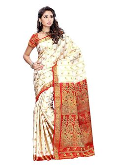 Art Kanchipuram Silk Saree in White Gracefully enhanced with Zari Woven Available with Unstitched Art Kanchipuram Silk Blouse in Red Free Services: Fall and Edging (Pico) Do note: Accessories shown in the image are for presentation purposes only.(Slight variation in actual color vs. image is possible)