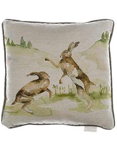 Voyage Boxing Hares Cushion   Oldrids Downtown http://www.oldrids.co.uk/CAT7/By_Room/Cushions_Throws/Voyage_Boxing_Hares_Linen_43x43_Cushion/Product #voyage #maison #love