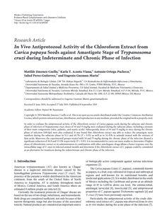 En Vivo Antiprotozoario Actividad del extracto de cloroformo de Carica papaya semillas contra Amastigote Etapa de Trypanosoma cruzi en fase indeterminada y crónica de la infección