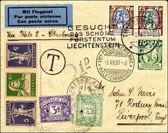 VINTAGE 1930 ENVELOPE - poststuk met eerste vlucht van Basel naar Cherbourg [Zwitserland, 1930]