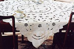 Empress 54 square tablecloths. With all over embroidery and cutworks design.