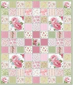 Totally Shabby Pink Roses Quilt Kit- like the design, could use with my fabric (for my butterfly fabric)