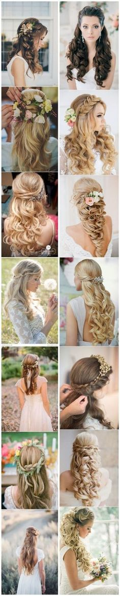 40 Stunning Half Up Half Down Wedding Hairstyles With Tu .- 40 Atemberaubende Half Up Half Down Hochzeitsfrisuren mit Tutorial 40 Stunning Half Up Half Down Wedding Hairstyles with Tutorial – – - Wedding Hair Down, Wedding Hair And Makeup, Hair Makeup, Wedding Braids, Prom Makeup, Eye Makeup, Up Hairstyles, Pretty Hairstyles, Wedding Hairstyles