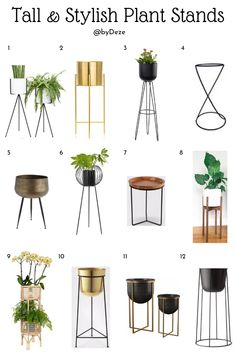 diy plant stand indoor 12 Contemporary, Stylish, Indoor Plant Stands to give your houseplant style and a boost in height! Step up your home decor in any room with this hack. Check this post out for plant stand options and a bonus DIY Tall Plant Stands, Modern Plant Stand, Diy Plant Stand, Tall Plant Stand Indoor, Diy Garden Decor, Diy Home Decor, House Plants Decor, Home Plants, Living Room With Plants