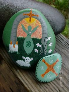 Imbolc:  #Imbolc Goddess Stone with Brigid's Cross.
