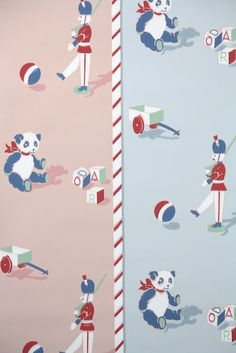 Vintage Wallpaper by the Yard - Childrens Nursery Wallpaper Pink and Blue Panda Bear Vintage Wallpaper Patterns, Retro Wallpaper, Pattern Wallpaper, Retro Baby, Retro Vintage, Wallpaper Pink And Blue, Nursery Wallpaper, Panda Bear, Retro Illustrations