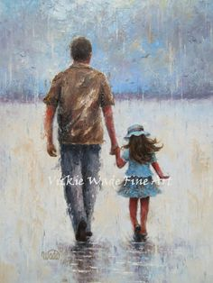 Father and Daughter Art Print dad daughter by VickieWadeFineArt