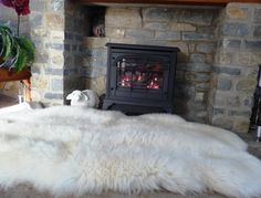 fluffy rug +fire place :)