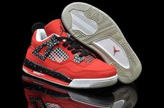 Air Jordan Women Shoes Kids Jordan 4 Speckle Red Black [Kids Jordan 4 - Kids Jordan 4 Speckle Red Black is designed in a red theme here, along with the speckle on the midsole and side panel. Nike Kids Shoes, Jordan Shoes For Kids, New Jordans Shoes, Nike Shoes Cheap, Kids Jordans, Air Jordan Shoes, Kid Shoes, Cheap Nike, Cheap Jordans