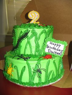 boy bug cake....switch up the plastic bugs for fondant and I'm in LOVE!