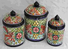 Talavera 3-Piece Canister Set - Mexican Connexion for Talavera Pottery