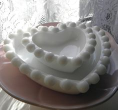 Milk Glass Heart Dishes Set of Two Valentine's by Sugarcookielady