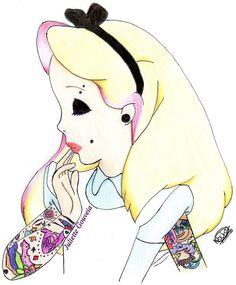 Dessin d'Alice en punk :3 Drawing of punk Alice (Disney)