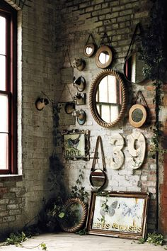 6 Unique Tips AND Tricks: Wall Mirror Interior Chairs wall mirror interior frames.Wall Mirror Design Benches wall mirror entry ways stairways.Tall Wall Mirror Home Decor. Rustic Wall Mirrors, Wall Of Mirrors, Vintage Mirrors, Small Mirrors, Rustic Walls, Boho Home, Deco Design, Hall Design, Exposed Brick