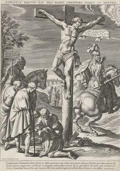 Pieter de Jode (I)   Kruisiging van Christus, linkerdeel, Pieter de Jode (I), 1590 - 1632   De 'goede' misdadiger aan het kruis. Links op de voorgrond de soldaten die dobbelen om de kleren van Christus. Een ruiter en twee omstanders kijken toe. Rechts de lansdrager (Longinus) te paard. Op de achtergrond de drie heilige vrouwen op weg naar het graf van Christus. Met bovenschrift van een regel in het Latijn en in de marge een drieregelig onderschrift in het Latijn.