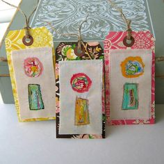 Painted Flower Gift Tags  Fabric Flower Scrapbook by tracyBdesigns, $8.00