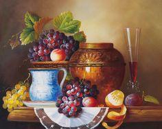 vino tinto pintura al óleo de la lona impresiones de uva frutas de color naranja olla de cerámica clásica el envío libre en la decoración del arte de la lona de imagen (China (continental))
