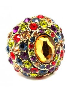 CHUNKY RAINBOW CRYSTAL AND GEM LADIES FASHION STRETCH RING - View All Rings - Rings - Jewellery