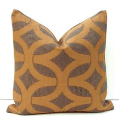 Decorative Rust Pillow  - 18x18  - Decorative Throw Pillow Cover - Rust and Brown Geometric. $28.00, via Etsy.