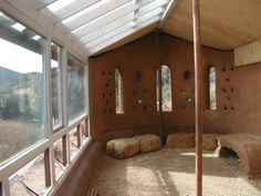 "Cob/Strawbale Greenhouse: this design would be great without the north wall there- just start the house this way ""earthship"""