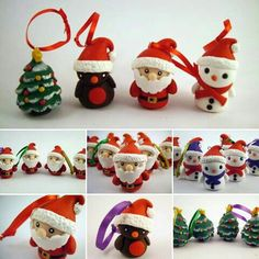 Hand sculpted polymer clay cute Christmas tree decorations, made to order. I love making these little cuties :D