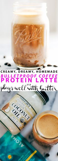 bulletproof coffee protein latte - a dreamy, creamy latte that is beyond delicious, of satisfying protein & healthy fats, & completely easy to make at home. Protein Coffee, Smores Dessert, Cheese Dessert, Healthy Fats, Healthy Drinks, Healthy Eating, Low Carb Keto, Low Carb Recipes, Protein Recipes