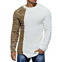 Pullover Herren Strickpullover Strick Pulli Winter asymetrisch Zopfstrick Slim Fit Optik