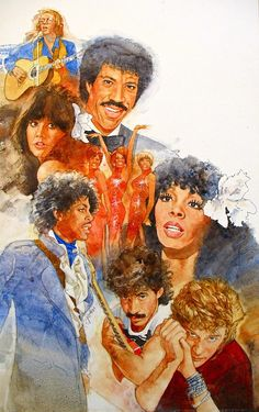 It's Rock And Roll 1 by Cliff Spohn ~ acrylic on board ~ singers & songwriters John Sebastian, Lionel Richie, Linda Ronstadt, The Supremes, Donna Summers, Prince, Hall & Oates