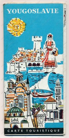 YUGOSLAVIA TOURIST MAP PLAN - vintage old brochure prospect map