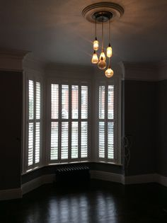 Shutters and new lighting installed Ceiling Rose, Ceiling Lights, Shutters, Windows, Curtains, Lighting, Home Decor, Blinds, Shades