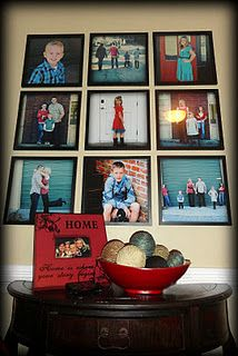12 x 12 pic wall collage, love the colors all the pictures have in common..