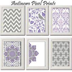 Lavendar Purple Wall Art Vintage Modern By Antinoropixelprints 55 00