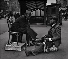 A Harlem moment forever in a 1930's capsule. Shoes were treated with so much respect back then no?