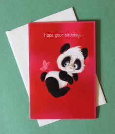 Vintage Hallmark BIRTHDAY Greeting Card PANDA Bear 1960s. $3.50, via Etsy.