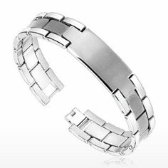 Spikes Tungsten Carbide Plate ID Brushed Center Bracelet SPIKES Jewelry. $195.00