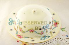 Crown Staffordshire blue bows covered butter dish by VieuxCharmes